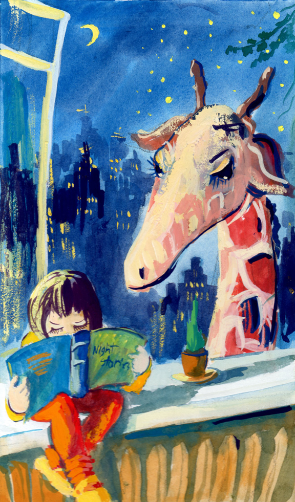Giraffe in nyc reading